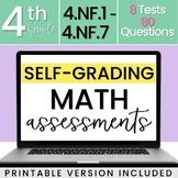 SELF-GRADING 4th Grade Math Tests - Fractions