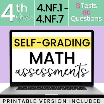 4.NF Fraction Assessments 4th Grade