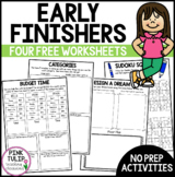 4  No Prep Early Finisher Activities - Great for Substitute Teachers