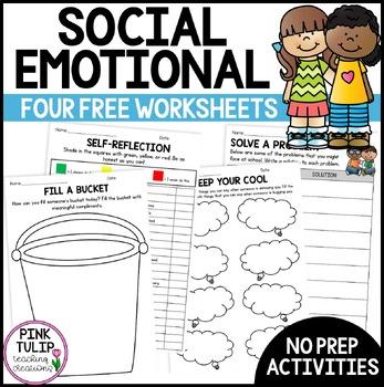 4 No Prep Printable Social Emotional Learning Worksheets | TpT