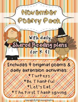 November Poetry Pack ~ w/ daily Shared Reading Plans {Common Core Aligned}