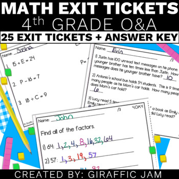 4th Grade Math Exit Tickets for Every OA Standard
