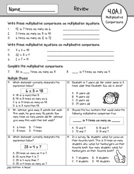 4.OA.1 Assessment: Multiplicative Comparisons