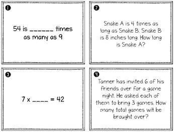 4.OA.1 Interpreting Multiplication Problems Task Cards