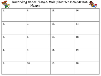 4.OA.1 Multiplication Comparison Task Cards