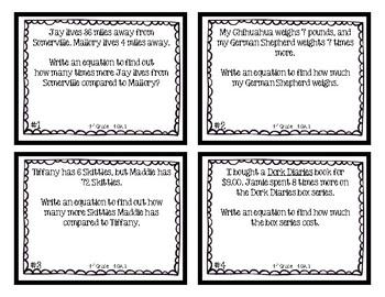 4th Grade Task Cards | Multiplicative Comparison Equations 4.OA.1