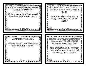 4th Grade Task Cards | Multiplicative Comparison Equations 4.OA.1