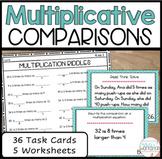 4.OA.1 Multiplicative Comparisons Task Cards and Worksheets   BUNDLE