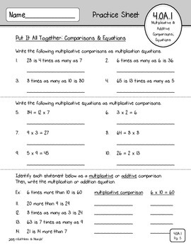 4.OA.1 Practice Sheets: Multiplicative Comparisons