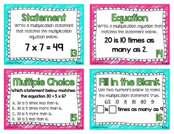 4.OA.1 Task Cards: Multiplicative Comparisons