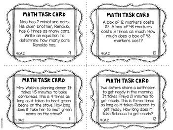 4.OA.2 4th Grade Math Task Cards