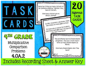 4th Grade Task Cards | Multiplicative Comparison Word Problems 4.OA.2