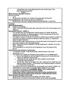 4.OA.2 Lesson Plans (NC Q2W1)