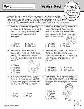 4.OA.2 Practice Sheets: Comparison Problems