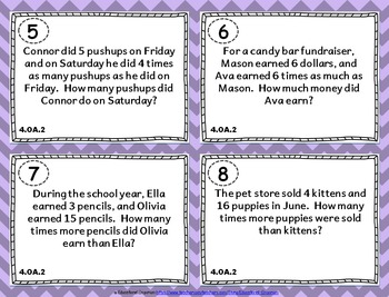 4.OA.2 Task Cards: Multiplicative Comparisons Word Problems Task Cards 4.OA.2