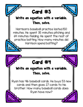 4.OA.3 Task Cards {Set 1}: Multi-Step Word Problems (Add & Subtract Only)