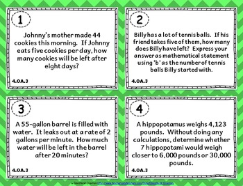 4.OA.3 Task Cards: Multi-Step Word Problems Task Cards 4.OA.3: Word Problems