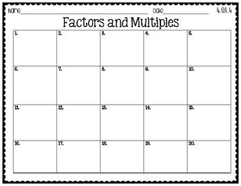 4th Grade Task Cards | Factors and Multiples 4.OA.4