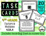 4.OA.4 Factors and Multiples 4th Grade Task Cards