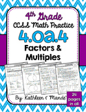 4.OA.4 Practice Sheets: Factors & Multiples
