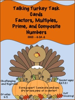 4.OA.4 Talking Turkey with Factors, Multiples, Prime and Composite Numbers