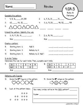 4.OA.5 Assessment: Rules & Patterns