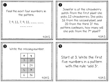 4.OA.5- Number and Shape Patterns Task Cards
