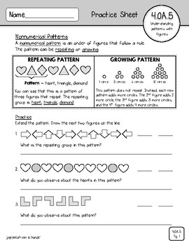 4.OA.5 Practice Sheets: Rules & Patterns