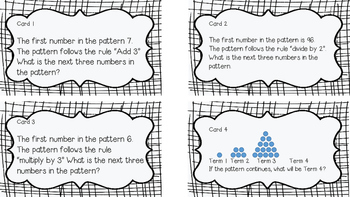 4.OA.C.5 Task Cards (Number and Shape Patterns)
