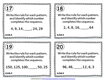 4.OA.5 Task Cards: Identifying Patterns Task Cards 4.OA.5: Patterns and Rules