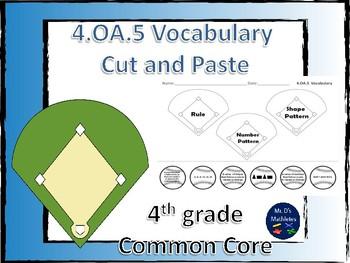 "4.OA.5 Vocabulary ""Cut and Paste"" Baseball"