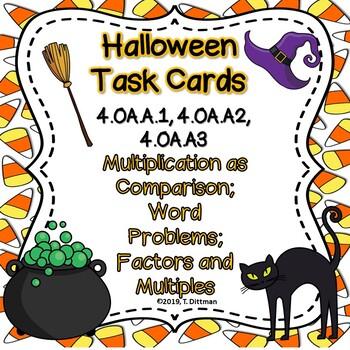4.OA.A.1,2,3 Halloween Multiplicative Comparison Review