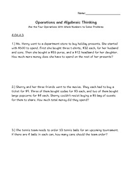 4.OA.A.3 Multistep Word Problems