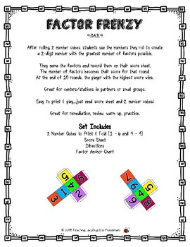 4.OA.B.4  Factor Frenzy Print & Play Dice/Strategy Game