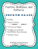 4.OA.B.4: Factors, Multiples, and Patterns for Fourth Grade: Exit Tickets & More