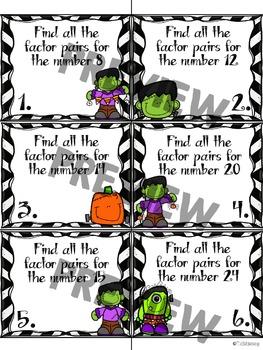 4.OA.B.4 Halloween Factor Pair Task Cards