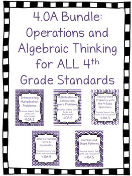 4.OA Bundle- Worksheets, Task Cards and Assessments for ALL Standards- 70+ Pages