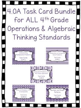 4.OA Task Cards Bundle for ALL 4th Grade OA Standards- 5 Sets!