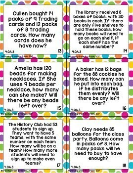 Operations & Algebraic Thinking Activities: 4.OA Practice, Test Prep, Task Cards