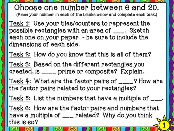 4-OA4 Common Core Tasks Prime/Composite, Factor Pairs, and Multiples