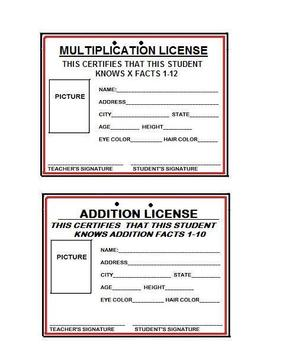 """KIDS EARN """"OFFICIAL MATH LICENSES"""" with MULT,SUB, ADD, and  DIV. 9pp."""