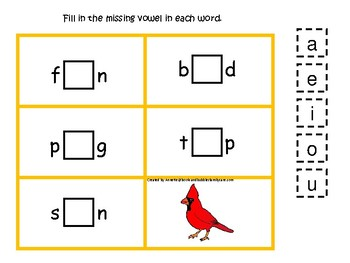 4 Ohio State Symbols themed CVC Preschool Phonics Vowel Games.