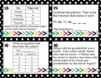Math Task Cards:Patterns and Sequences