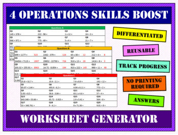 4 Operations Worksheet Generator - Whole numbers and ...