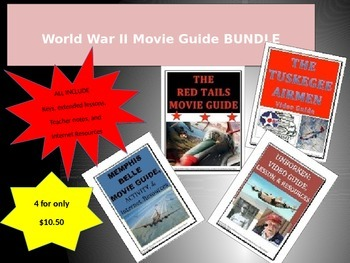 4 PACK BUNDLE WWII Movie Guides.