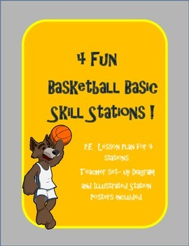 4 P.E. Basketball Basic Skills Stations Lesson Plan, diagram, and posters