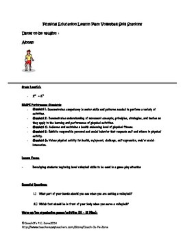 4 P.E. Volleyball skill stations (net optional) diagram, lesson, and posters