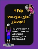 4 P.E. Volleyball skill stations (net optional) diagram, l