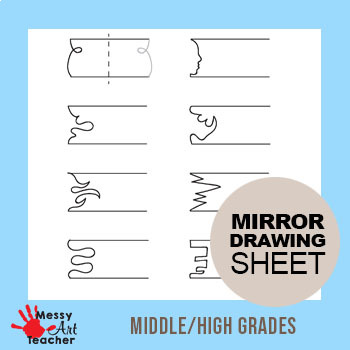 4 Pack Mirror Image Drawing Worksheet for Middle/High Grades