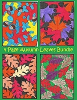 4 Page Autumn Leaves & Acorns Color By Number